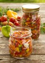 Vegetable preserved in jars for soups Stock Photos