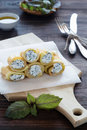 Vegetable rolls with cream cheese and basil Royalty Free Stock Photo