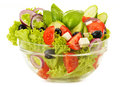 Vegetable salad bowl isolated on white Stock Images