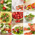 Vegetable salad collage Royalty Free Stock Photo