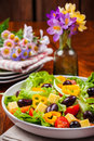 Vegetable salad with olives and cheese Royalty Free Stock Photography