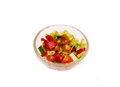 Vegetable salad pepper tomato cucumber in transparent bowl Royalty Free Stock Photo