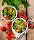 Vegetable salad with spinach