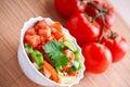 Vegetable salad,twig tomatoes Royalty Free Stock Photo