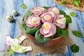 Vegetable salad Violet on blue wooden table
