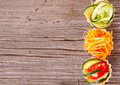 Vegetable salad on wooden background Stock Image
