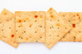 Vegetable salty crackers on white background Stock Images
