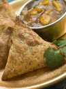 Vegetable Samosa with Mango Chutney Stock Image