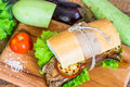 Vegetable sandwich with eggplant and zucchini Royalty Free Stock Photo