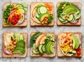 Vegetable sandwiches. Plant-based diet. Royalty Free Stock Photo