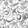 Vegetable seamless pattern. Hand drawn vintage vector background. Vegetarian set of farm market products.