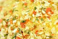 Vegetable seasoning close up a shot of with sea salt onion garlic red bell pepper parsley and other spices Stock Photo