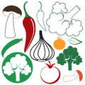 Vegetable set isolated objects on white background vector illustration eps Stock Photography