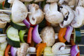 Vegetable shish kabob Stock Images