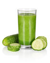 Vegetable smoothie from spinach and cucumber isolated on white Royalty Free Stock Image