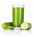 Vegetable smoothie from spinach and cucumber isolated on white Stock Image