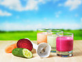 Vegetable smoothie on wooden table on the rural ba background Stock Image