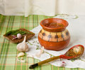 Vegetable soup in a ceramic pot borscht traditional russian ukrainian Stock Image