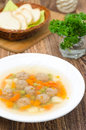 Vegetable soup with chicken meatballs Stock Photo