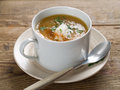 Vegetable soup delicious and creamy in cup selective focus Stock Image
