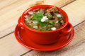Vegetable soup delicious with smoked pork ribs cabbage leek carrot garlic greens and sour cream in red bowl isolated on wooden Royalty Free Stock Image