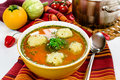 Vegetable soup with dumplings Royalty Free Stock Photo