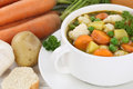 Vegetable soup meal closeup with vegetables in bowl