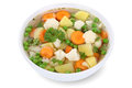 Vegetable soup meal with vegetables in bowl isolated potatoes carrots and peas on a white background Royalty Free Stock Photography