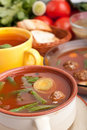 Vegetable soup with meatballs and green beans Royalty Free Stock Photo