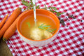 Vegetable soup with noodles semolina dumplings Royalty Free Stock Image