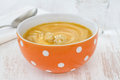 Vegetable soup with sour cream Stock Image