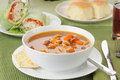 Vegetable soup with turkey wraps a bowl of wrap sandwiches Royalty Free Stock Photography