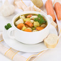 Vegetable soup with vegetables in cup healthy eating