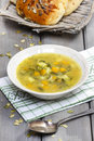 Vegetable soup on wooden table Royalty Free Stock Photo