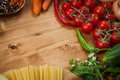 Vegetable and spaghetti pasta with olive oil basil garlic tomato Stock Image