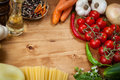 Vegetable and spaghetti pasta with olive oil basil garlic tomato Stock Photography
