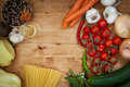 Vegetable and spaghetti pasta with olive oil basil garlic tomato Stock Photo