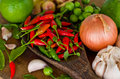 Vegetable and spice many kind of on wood table Stock Image