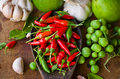 Vegetable and spice many kind of on wood table Royalty Free Stock Photography