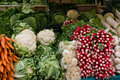 Vegetable stall in a farmers market Stock Photos
