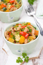 Vegetable stew with beans in a bowls Stock Photos