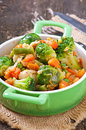 Vegetable stew in green pan Stock Photography