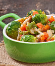Vegetable stew in green pan Royalty Free Stock Image