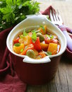 Vegetable stew with olives and red pepper Royalty Free Stock Photography