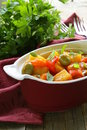Vegetable stew with olives and red pepper Stock Photo