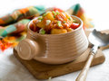 Vegetable stew with pepper and spring onion selective focus Royalty Free Stock Images