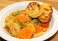 Vegetable stew and potato dumplings with carrots potatoes with flat in a white bowl Stock Photos