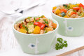 Vegetable stew with white beans close up Stock Photography