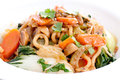 Vegetable stir fry with udon noodles and bok choy Stock Images