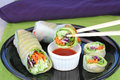 Vegetable Sushi with dipping sauce Royalty Free Stock Photo